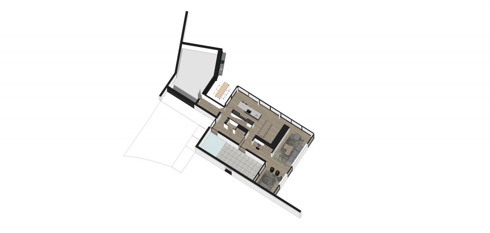 Indelingsplan voor moderne villa door architect Bob Romijnders